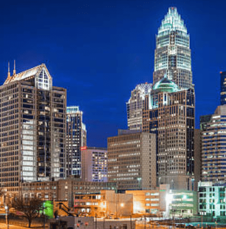Charlotte City skyline at night