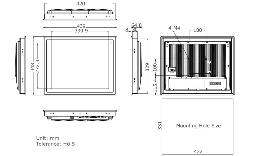 TD-45-17 Touchscreen Monitor Tech Draw