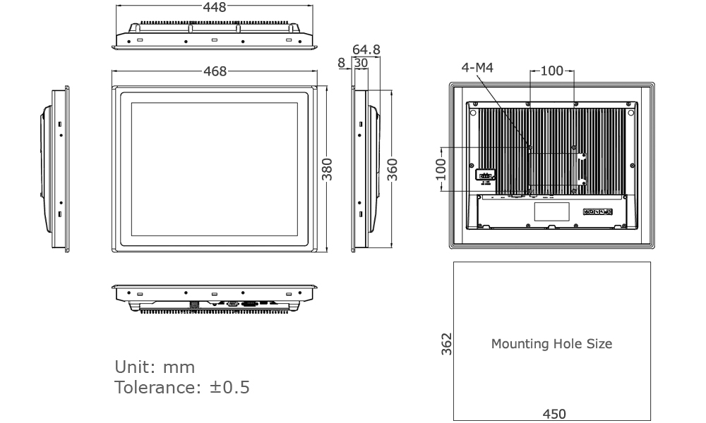 Industrial Monitor Technical Drawing