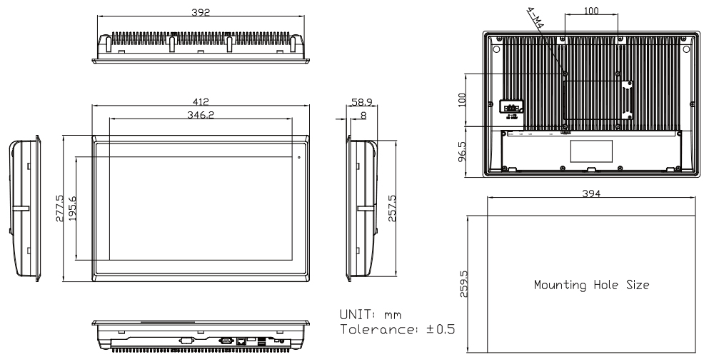 Touch Screen Panel TP-A945-16 Technical Drawing