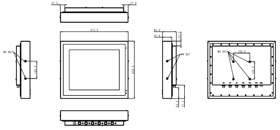 TR-0810-15 Fanless Panel PC Drawing
