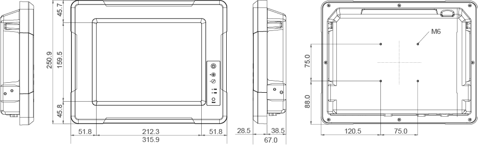 Rugged Panel PC Technical Drawing