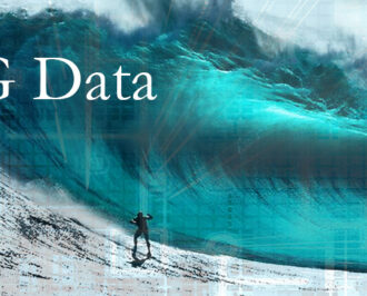 Person surfing a giant wave overlayed with circuits and the words BIG Data