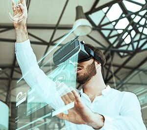 Man wearing VR headset uses a virtual interface