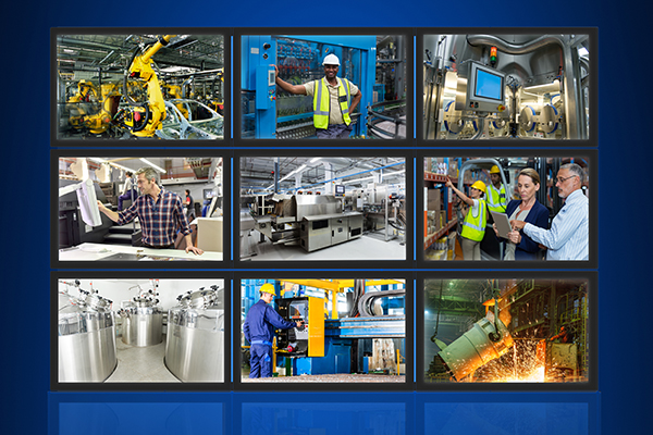 Nine images of various industrial scenes with numerous industrial touch screen applications