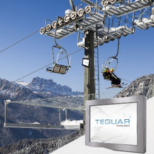 Composite of a Teguar monitor outdoors in cold weather