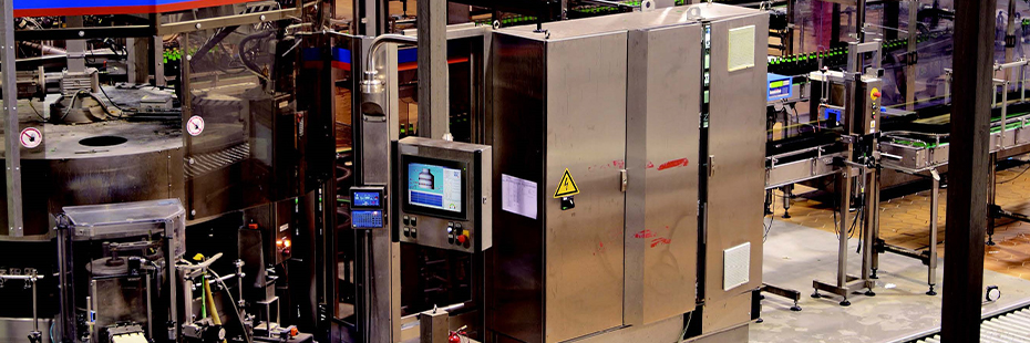 Computer mounted in a beverge bottling factory used for SCADA system