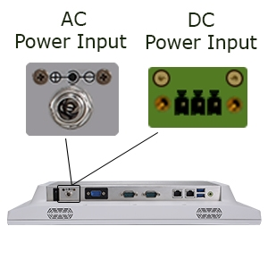 Teguar TM-4033-15 bottom view with focus on AC and DC power inputs