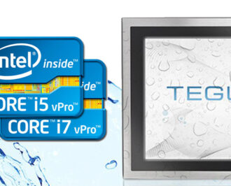 Two Intel CPU chips and a wet Teguar TS-3010 series waterproof monitor