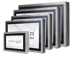 Fives sizes of the Teguar TSD-45 series of industrial touchscreen monitors