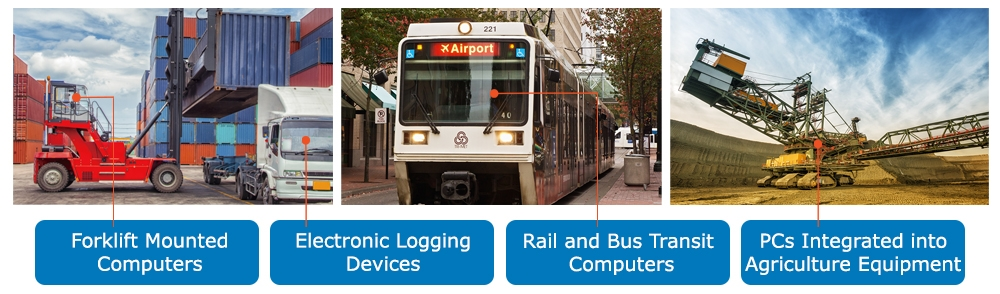 Three examples of vehicle mount computers: forklift, bus, and heavy machinery