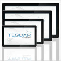 Four sizes of the Teguar TS-4040 series of industrial touchscreen panels