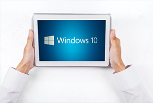 Tablet with Windows 10 installed being held